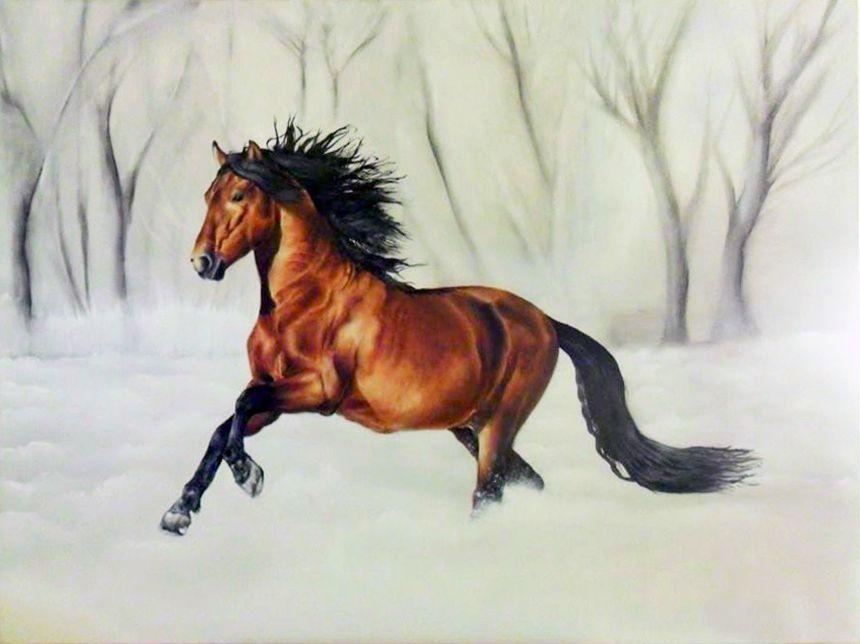 Claudia-art-gallery-oil-painting-horse-snow